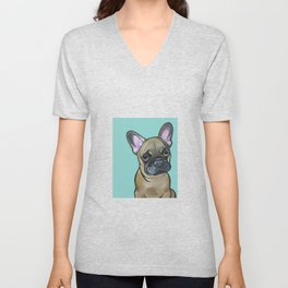 Armand the Frenchie Pup Unisex V-Neck