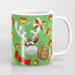 Reindeer Christmas Character with Face Mask Coffee Mug