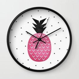 Pink Pineapple Wall Clock
