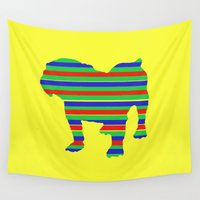 stripe Wall Tapestries featuring Bulldog Stripe by Crayle Vanest