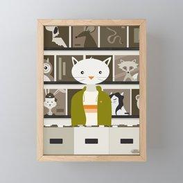 Record Store Cat Framed Mini Art Print