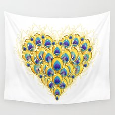 Peacock Heart Wall Tapestry