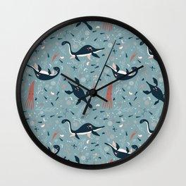 Prehistoric Seas: Playful Plesiosaur in Blue Wall Clock