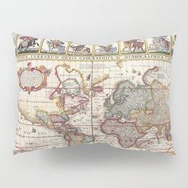 1652 Map of the World, Doncker Sea Atlas World Map Pillow Sham