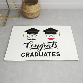Congrats graduates lettering with photo booth props: graduation cap, lips, mustache, glasses Rug