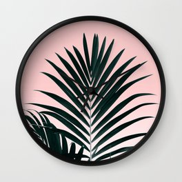 Tropical Green palm tree leaf blush pink gradient photography Wall Clock