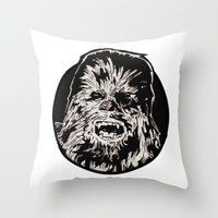 chewbacca Throw Pillows featuring Chewbacca by LaurenNoakes