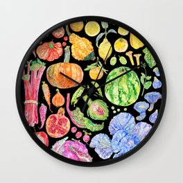 Rainbow of Fruits and Vegetables Dark Wall Clock
