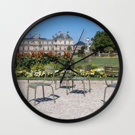 Chairs in Luxembourg Gardens - Paris Wall Clock