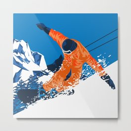 Snowboard Orange Metal Print