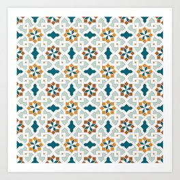Geometric Pattern, oriental style (nature color set)  traditional morocco tile pattern Art Print
