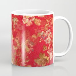 Country chic bright red pink vintage white floral Coffee Mug