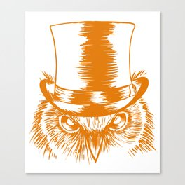 Owl With Top Hat Funny Nocturnal Predator Bird Lover Canvas Print