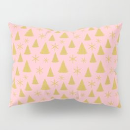 Pink and Gold Christmas Tree Pattern Pillow Sham