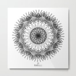 GEOMETRIC NATURE: DANDELION w/b Metal Print