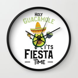 Holy Guacamole It's Fiesta Time Wall Clock