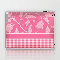 Pink Satin Floral Check Laptop & iPad Skin