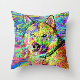 Siberian Husky Painting Throw Pillow