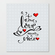 Valentine Love Calligraphy and Hearts Canvas Print