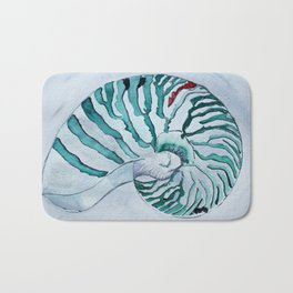 Turquoise Nautilus Shell painting watercolor Bath Mat