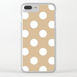 Large Polka Dots - White on Tan Brown Clear iPhone Case