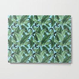 Leaves watercolor n.1 in pale blue Metal Print