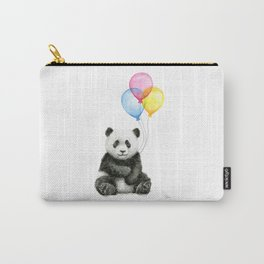 Panda Baby with Balloons Whimsical Nursery Animals Carry-All Pouch