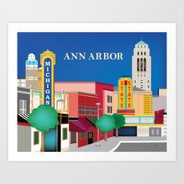 Ann Arbor, Michigan - Skyline Illustration by Loose Petals Art Print