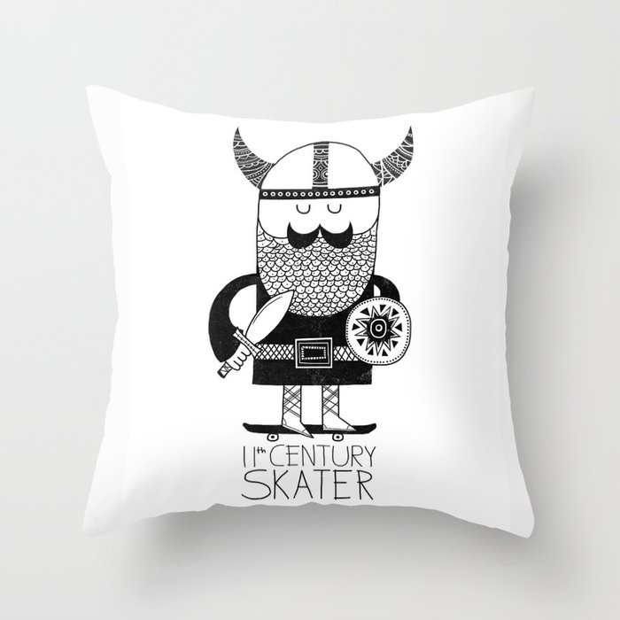 11th Century Skater - White Throw Pillow