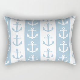 Nautical Sailor Stripes with Anchor Pattern Pale Blue 241 Rectangular Pillow
