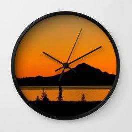 Sunset Silhouette, Mt. Redoubt - Alaska Wall Clock