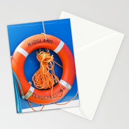 Life buoy hanging on a boat. Stationery Cards