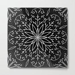 Single Snowflake - black Metal Print