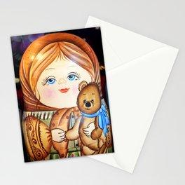 Matrioska. Little girl with teddy bear. Stationery Cards