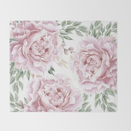 Pretty Pink Roses Floral Garden Throw Blanket