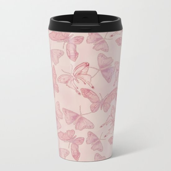 Butterfly Pattern soft pink pastel Metal Travel Mug