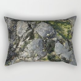 Beach Rock Pool with Seaweed and Barnacles Rectangular Pillow