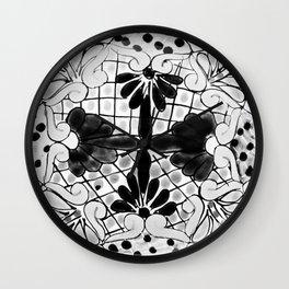 Black and White Talavera Pottery Two Wall Clock