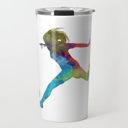 Woman soccer player 01 in watercolor Travel Mug