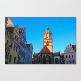 The Market Square (Markt) and the Church of Our Lady (Frauenkirche) in Meissen, Germany Canvas Print