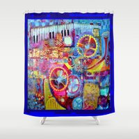 steam punk Shower Curtains featuring Blue Steam Punk  Music Key Board & Clock Works Abstract by SharlesArt
