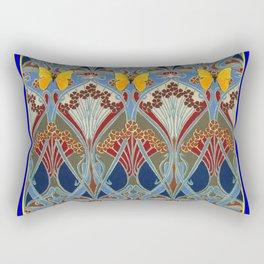 Ornate blue & Yellow Art Nouveau Butterfly Red Designs Rectangular Pillow