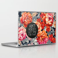 vintage Laptop & iPad Skins featuring Ain't Nobody Got Time For That by Sara Eshak