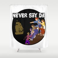 the goonies Shower Curtains featuring Goonies Never Say Die by Darth Paul