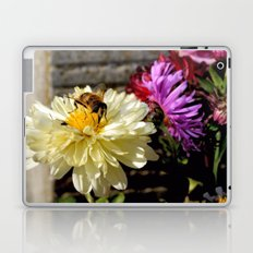 Close-up of a Busy Bee on a Butter White Flower Laptop & iPad Skin