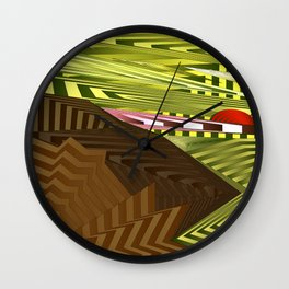 Striped landscap with stylised mountains, sea and red Sun. Wall Clock