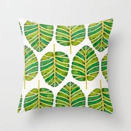 Elephant Ear Alocasia – Green Palette Throw Pillow