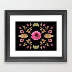 FLOWER COLLAGE N2 BLACK BACKGROUND Framed Art Print