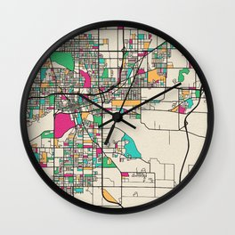 Colorful City Maps: Des Moines, Iowa Wall Clock