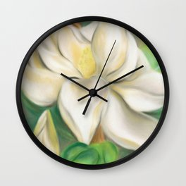 Southern Magnolia Blossom and Bud Wall Clock
